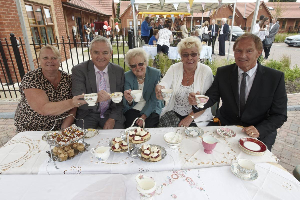 6th July 2015 The official opening of Pickering and Ferens Homes Weaver Grove development in Hull. Names left to right: Marlene Oliver, David Orr (Chief Executive National Housing Federation), Betty Taylor, Pat Scott and Cllr John Black.